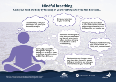 Steps to positive mental health mindful breathing infographic yacht crew help
