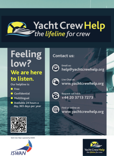 Yacht crew help poster feeling low